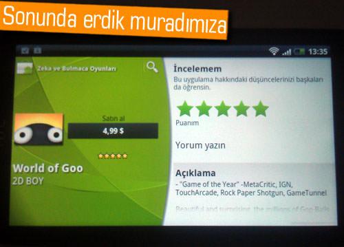 Google Play'den (Android Market) artık ücretli uygulama satın alabiliyoruz