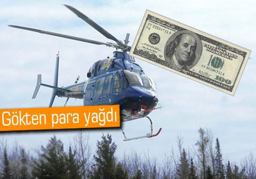 Helikopterden para yağdırdı, 2 kişi yaralandı