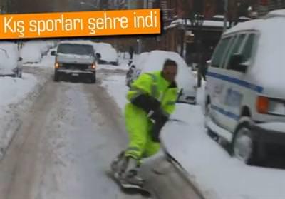 NEW YORK SOKAKLARINDA SNOWBOARD SOSYAL MEDYAYI SALLADI